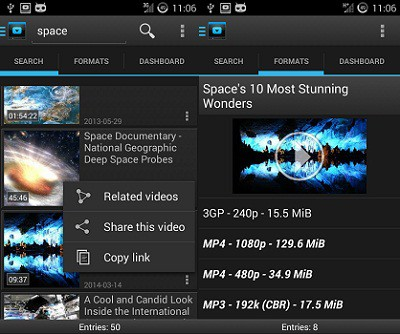 youtube downloader android interface